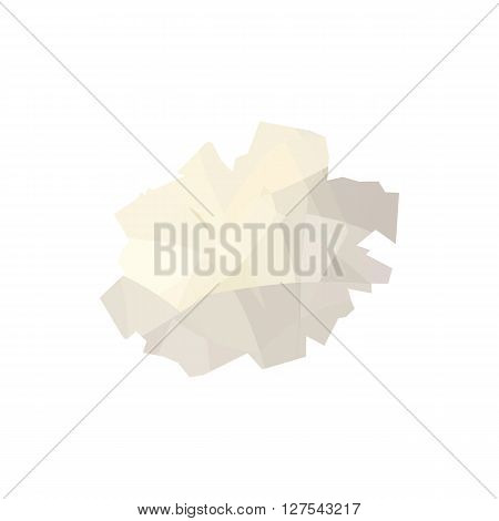 Crumpled paper icon in cartoon style on a white background
