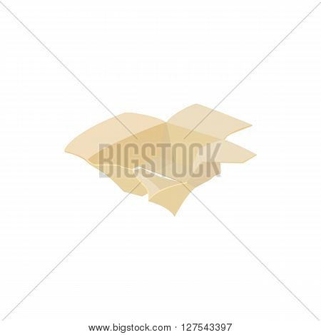 Crumpled empty cardboard box icon in cartoon style on a white background
