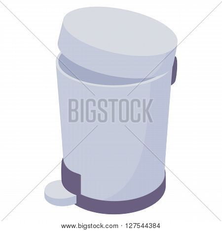 Pedal dust bin icon in cartoon style on a white background