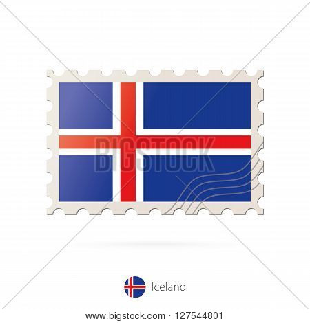 Postage Stamp With The Image Of Iceland Flag.
