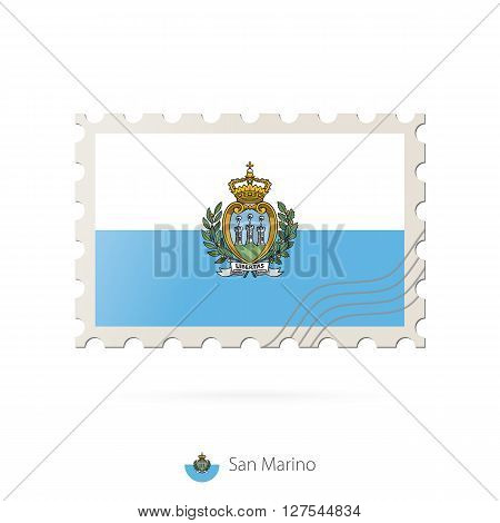 Postage Stamp With The Image Of San Marino Flag.