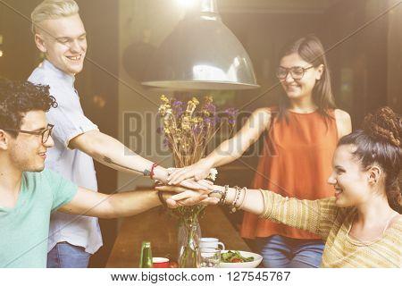 Friends Hands Together Teamwork Unity Concept