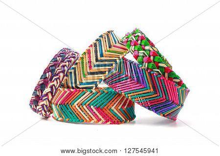 Colorful hanndmade wicker bracelets wrist band on isolate