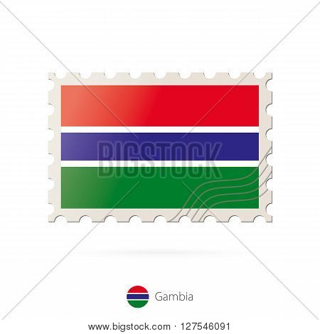 Postage Stamp With The Image Of Gambia Flag.