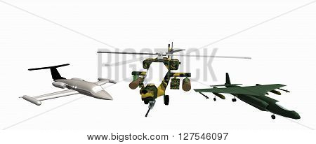 one combat helicopter and two combat aircraft low-poly 3D models. White background. Apache, AV-8A, C24. 3D rendering, 3D illustration