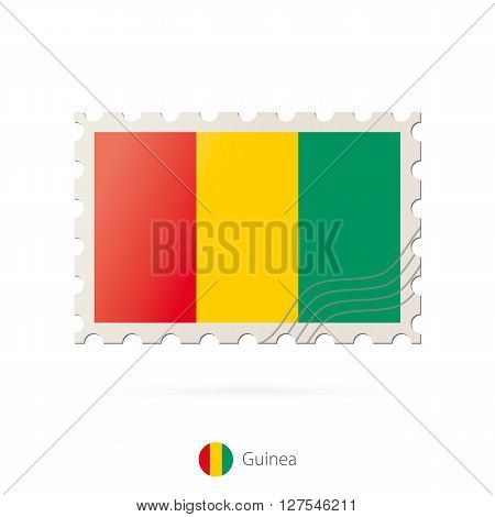 Postage Stamp With The Image Of Guinea Flag.