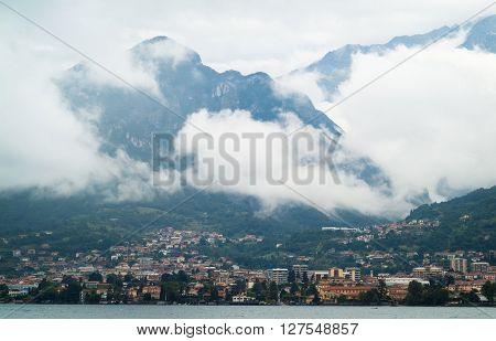 photo of a small Italian town near Lake Como (Italy) on a murky day