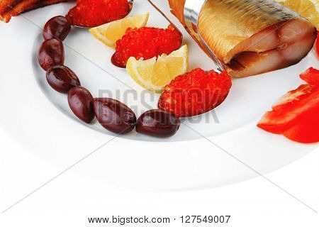 red salty caviar with fish on white plate