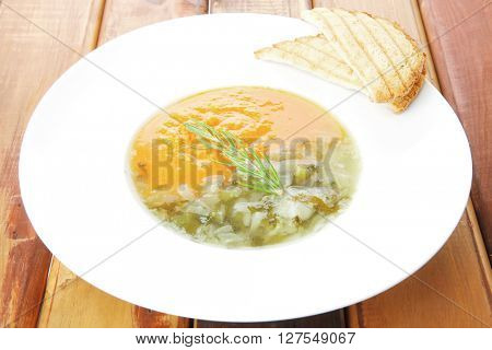 european cuisine: dual components vegetable soup served with toasts on wood