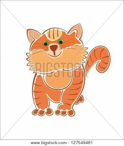 Ginger furry fat cat isolated vector image