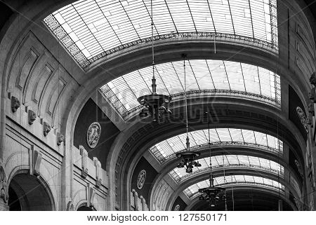 Milan, Italy - September 5th 2015: photo of the ceiling of the Milano Centrale railway station. Processed in B&W.