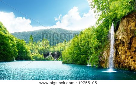 waterfall in deep forest of Croatia