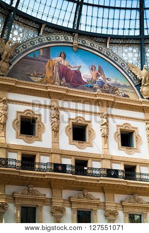 Milan, Italy - September 5th 2015: closeup photo of the decorated interior of the Galleria Vittorio Emanuele II in Milan photographed on September 5th 2015.
