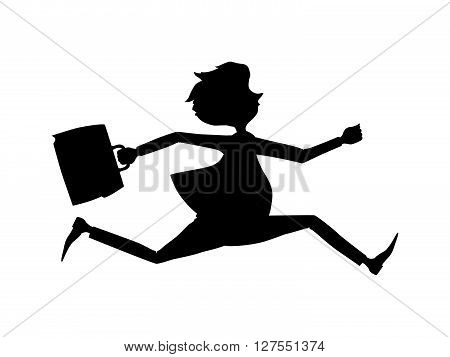 Employee rush to the office to the beginning of the working day. Business man late for an appointment. Silhouette.