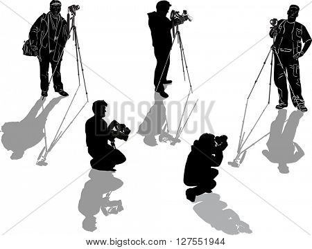 illustration with five photographers isolated on white background