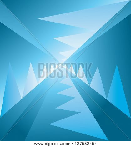 Abstract background with lines and blue zig zags descending to the centre digital vector image