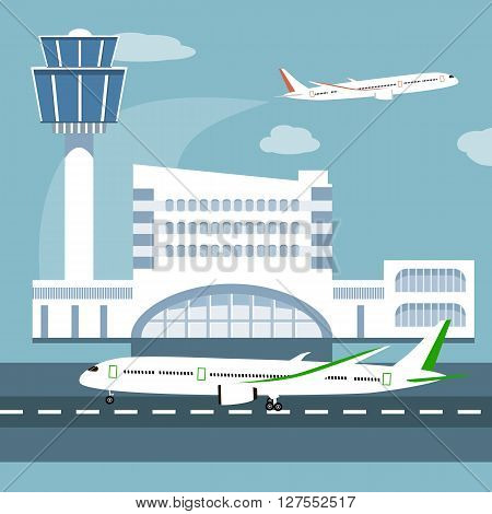 The illustration of airport terminal. Travel concept of planning a summer vacation tourism. Flat design icon vector illustration