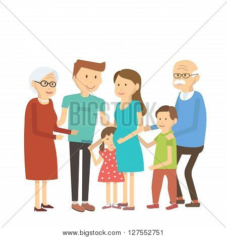 Happy family portrait. Vector illustration flat style characters.