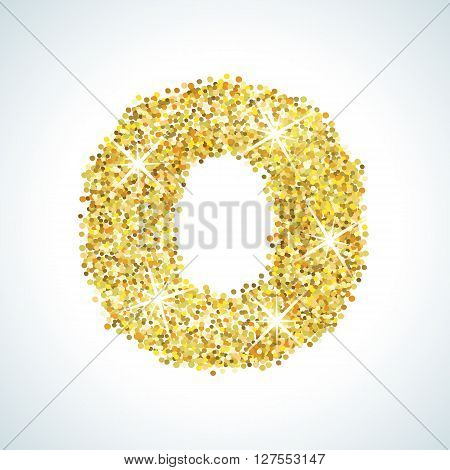 Zero number in golden style. illustration gold design. Formed by yellow shapes. For party poster, greeting card, banner or invitation. Cute numerical icon and sign.