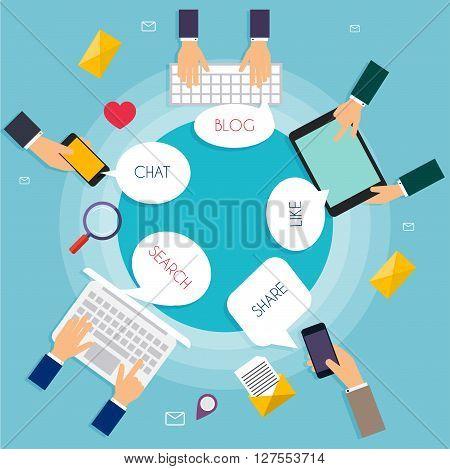 Social Network Vector Concept. Carton Speech Bubbles With Social Media Words. Flat Design Illustrati