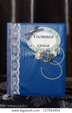 Blue and white decorated wedding guest book