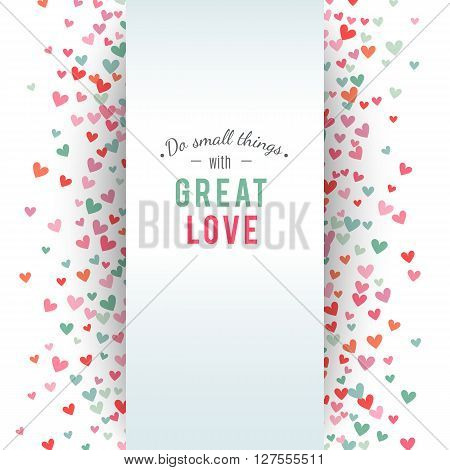 Romantic pink and blue heart background. illustration for holiday design. Many flying hearts on white background. For wedding card, valentine day greetings, lovely frame.