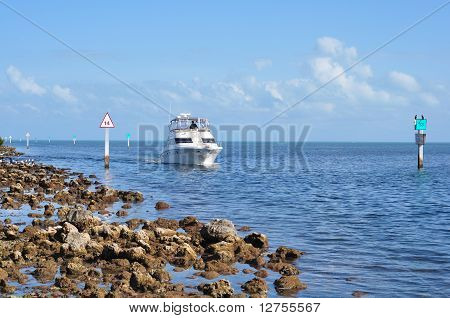 Boat In Navigation Chanel In Biscayne National Park