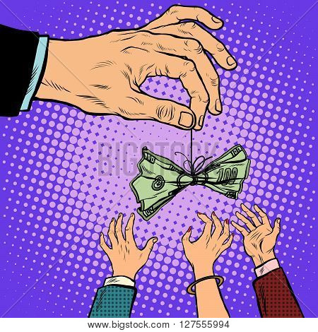hand cash lure business Finance pop art retro style. Greed money dollars. Lottery and competition
