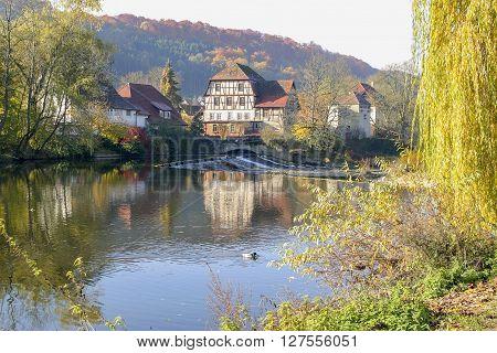 waterside village in Hohenlohe a area in Southern germany
