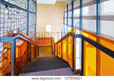 interior of staircase in modern gym