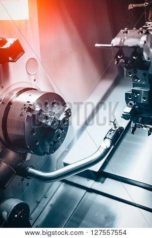 Detail of a modern CNC machine closeup picture