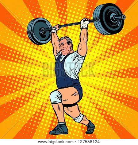 Weightlifting a weightlifter raises the bar pop art retro style. Summer sports games. Weightlifting, sports. A strongman raises weight
