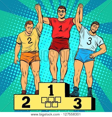 Sport first second and third place on the podium pop art retro style. The joy of victory. Summer sports games.
