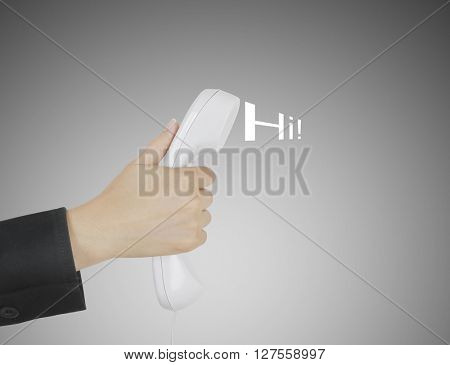 Close up on female hand holding phone