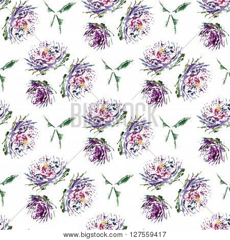 Aster Watercolor  Floral Seamless Pattern