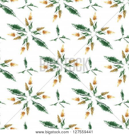 Field Grass Whisk Watercolor Seamless Pattern