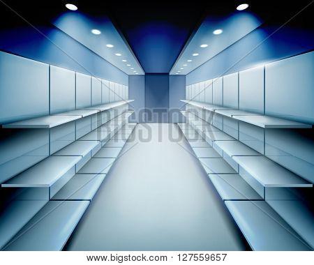 Empty shelves. Vector illustration.