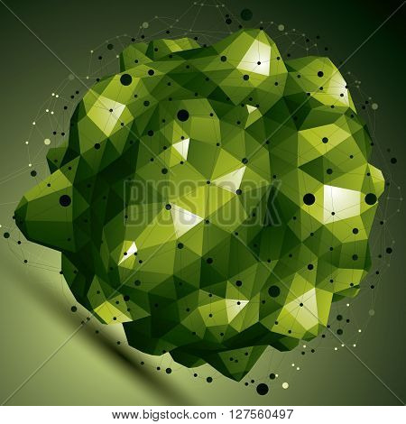 Complicated Abstract Bright 3D Shape, Vector Digital Lattice Object. Technology Theme.