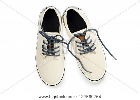 pair of cavnas shoes isolated on white