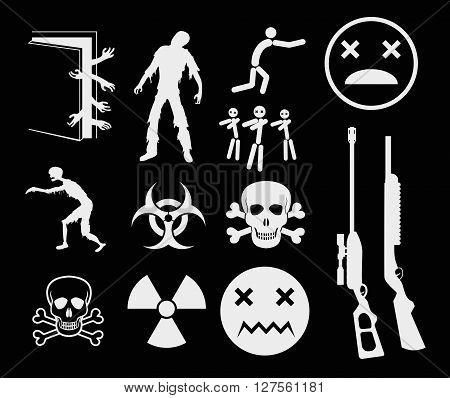 Zombies Apocalypse Sign and Symbols - Vector icon set EPS8
