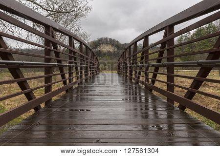 A wet park bridge facing a cliff.