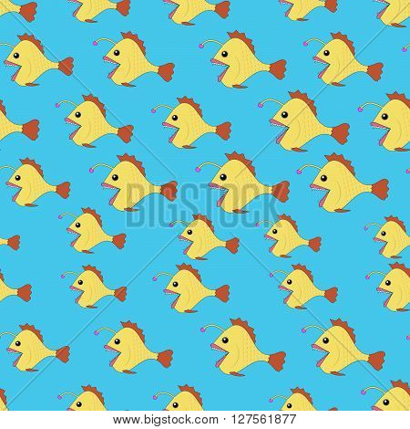 Vector Seamless pattern with Angler fish or monkfish