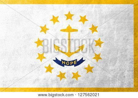 Flag Of Rhode Island, Painted On Leather Texture