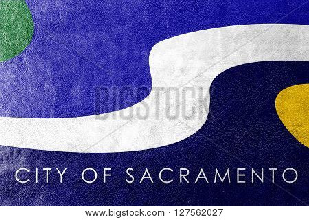 Flag Of Sacramento, California, Painted On Leather Texture