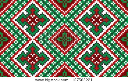 Vector illustration of embroidered pattern. Seamless traditional national embroidered pattern for your design