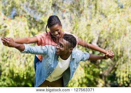 Happy family having fun at park