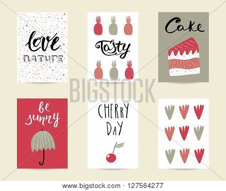 Cute hand drawn doodle birthday party baby shower cards brochures invitations with cake umbrella cherry pineapple design elements. Cartoon objects background. Printable templates set