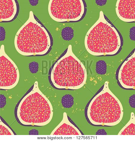 Sweet berry seamless pattern with blackberries and figs. Vector illustration. Fruit background.