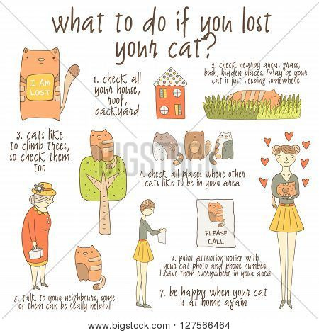 Cute hand drawn doodle instruction about what to do if you lost your cat including cat girl old lady house tree grass poster. Instruction tutorial advice with pictures