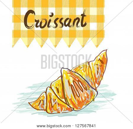 Croissant sketchy card - vector illustration. Design for the card or banner.
